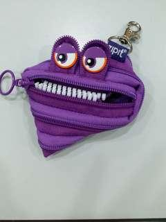 Coin Purse zipit monster face small key chai pouch purple