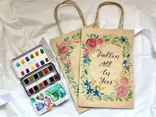 🚚 Floral Watercolor calligraphy Kraft paper bags