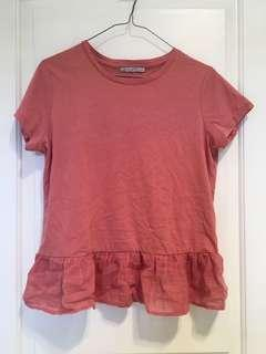PINK FRILLED T-SHIRT
