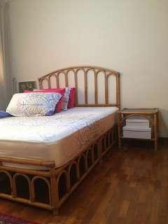 🚚 Manila Cane Rattan Bedframe and Bedside Tables