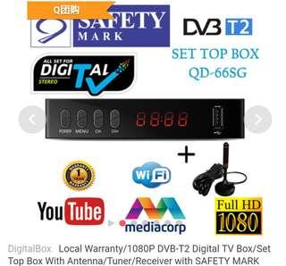 DigitalBoxLocal Warranty/1080P DVB-T2 Digital TV Box/Set Top Box With Antenna/Tuner/Receiver with SAFETY MARK