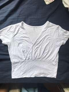 White Wrap Front Top 白色短袖T恤上衣