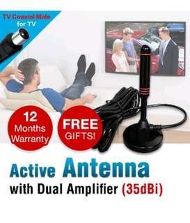 DigitalBox100% Copper Digital TV Antenna / 35dBi Active Indoor Antenna for DVB T2 Box / DVB-T2 TV Box