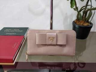 PRADA Saffiano Fiocco Bow Zip Around Wallet Cammeo Authentic