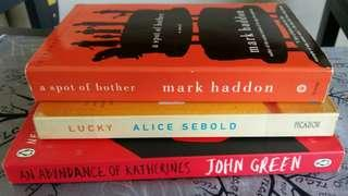 various titles • lucky by alice sebold ○ a spot of bother by mark haddon • an abundance of katherines by john green