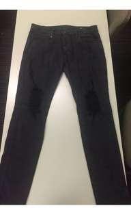 Men's thrills co denim jeans destroy black 32