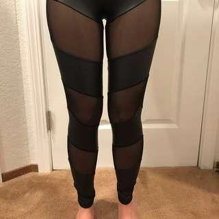 Faux leather leggings with mesh cutouts - black - small