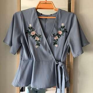 🚚 Floral Embroidery Kimono Blouse