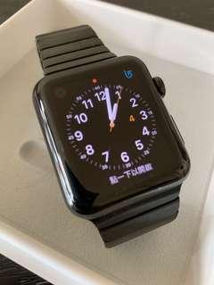 Apple watch 42mm 黑鋼,第一代,連副廠不銹鋼表帶,有盒,及差電缐