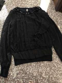 🚚 黑色雪紡上衣