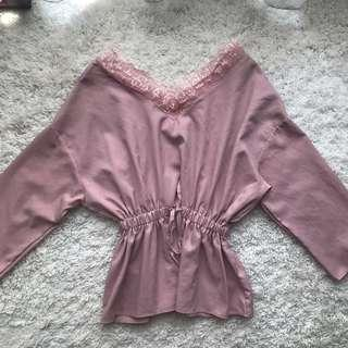 Dusty pink laces Top