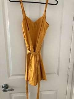 mustard yellow linen playsuit