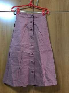 Brick orange button down skirt