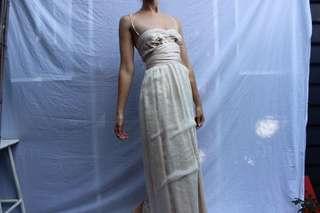 Champagne 100% silk designer ball gown