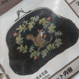 松鼠 口金 散紙包 手作 十字繡 刺繡