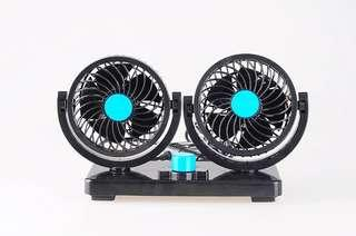 Two Head Mini Car Air Cooling Conditioner Fan 12V 360 Degree Rotating (Black)-intl