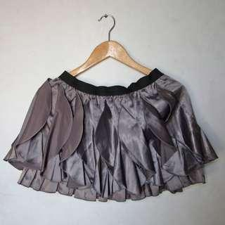 Purple satin flappy ruffled mini skirt