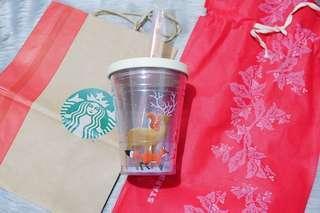 Starbucks Reindeer and Santa Cold Cup