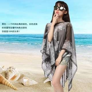 Women Fashion 2 In 1 Chiffon Flora Scarf & Beachwear