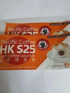 Pacific Coffee 咖啡現金券2張 到期日 :2019年4月12日