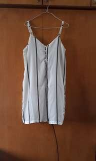 White Striped Romper (with safety shorts!)