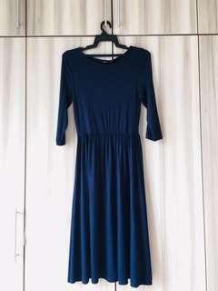 Zalora Basics Quarter Sleeves Fit & Flare Dress
