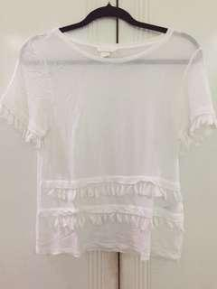 H&M white tassle top