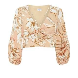 SHEIKE pink tropical ruched sleeves top