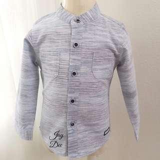 ❤️Baby Boy Cotton Shirt (Stripe Greyish Blue)❤️