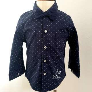 ❤️Baby Boy Cotton Shirt with Removable Bow (Navy Blue )❤️