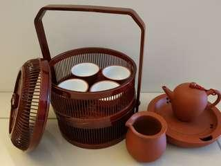 Clay travel tea set