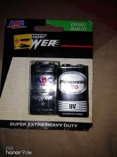 Baterai 9 volt abc dan panasonic