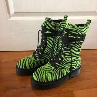 CURRENT MOOD FURRY ZEBRA PRINT BOOTS IN LIME GREEN