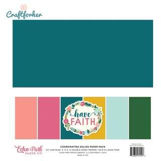 """🚚 ★Kit★ Have Faith Solid Color Paper Pack, 12"""" x 12"""" Solid Cardstock Paper, Scrapbooking Craft"""