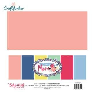 """🚚 ★Kit★ I am Mom Solid Color Paper Pack, 12"""" x 12"""" Solid Cardstock Paper, Scrapbooking Craft"""