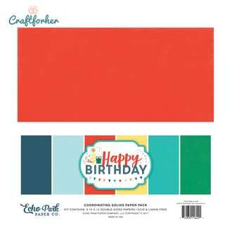 """🚚 ★Kit★ Happy Birthday Boy Solid Color Paper Pack, 12"""" x 12"""" Solid Cardstock Paper, Scrapbooking Craft"""