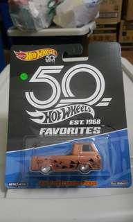 Hotwheels 50th Anniversary FAVORITES '60 Ford Econoline Pickup *classic *vintage *truck *muscle *rubber tires *metal base