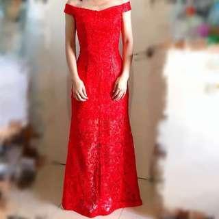 [幸福承傳] 顯瘦紅色一字肩小魚尾蕾絲透視短裙晚裝