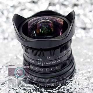 7.5mm f2.8 無反微單相機專用 超廣角魚眼微距鏡頭 NEX FX M4/3 EOSM 接口 Mirrorless DC Fit Super Wide Fisheye Prime Manual Lens 8mm Sony Panasonic Olymplus Fujifilm Canon