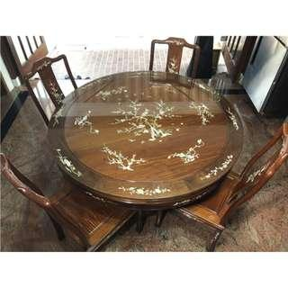 Rosewood with Mother of Pearl dining table 4 seater