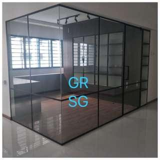 Custom black frame glass partition