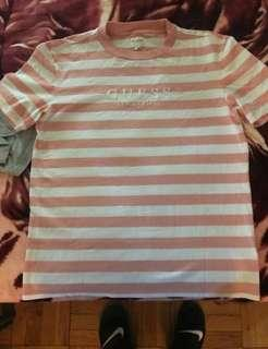 🚚 bn guess rose pink striped palm shirt