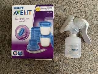 🚚 Philips avent manual breast pump and storage cups