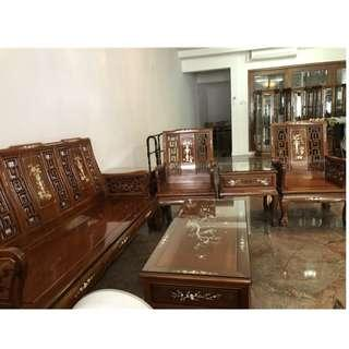 Rosewood with Mother of Pearl 5 Seater Sofa Set