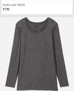 Brand NEW! Uniqlo Heattech Crew Neck Shirt in Light Gray