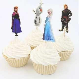 🚚 24pcs Disney Princess Frozen Anna  & Elsa Cake/Cupcake/Muffin Toppers for Party Decoration