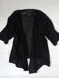 Zalora Black Lace Kimono