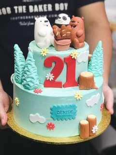 🚚 We Bare Bears-themed cake, Cartoon-themed cakes, Customised Cakes, FREE DELIVERY