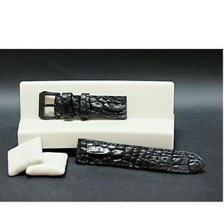 Strap jam tangan bahan crocodile horn back asli untuk jam tangan lug 24