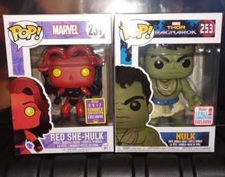 (ON HAND) Red She-Hulk & Casual Hulk Marvel Funko Pop Bundle
